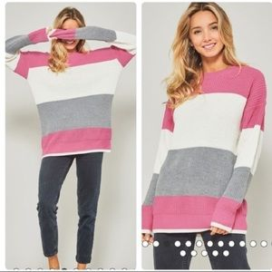 🌻Promesa Color Block Striped Sweater